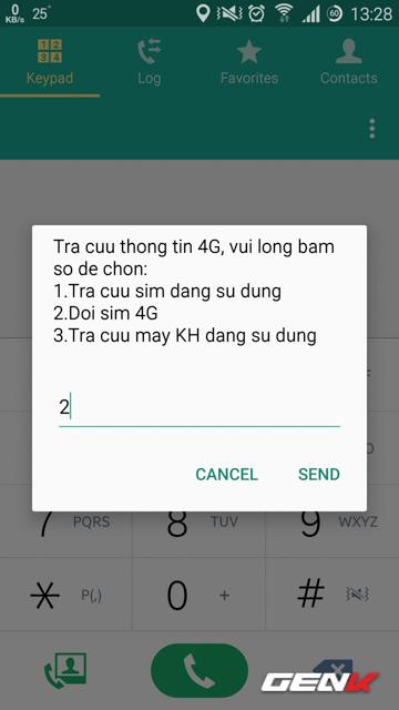 Nhập 2 để chọn tùy chọn đổi SIM 4G Viettel